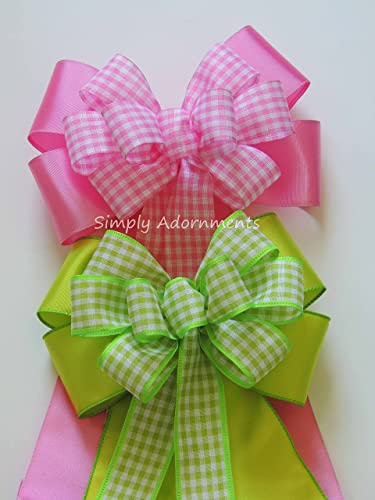 Amazoncom Pink or Lime Gingham Bow Pink Baby Shower Decor Pink