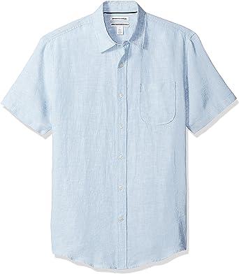 Amazon Essentials - Camisa de lino a rayas, de manga corta y corte entallado para hombre: Amazon.es: Ropa y accesorios