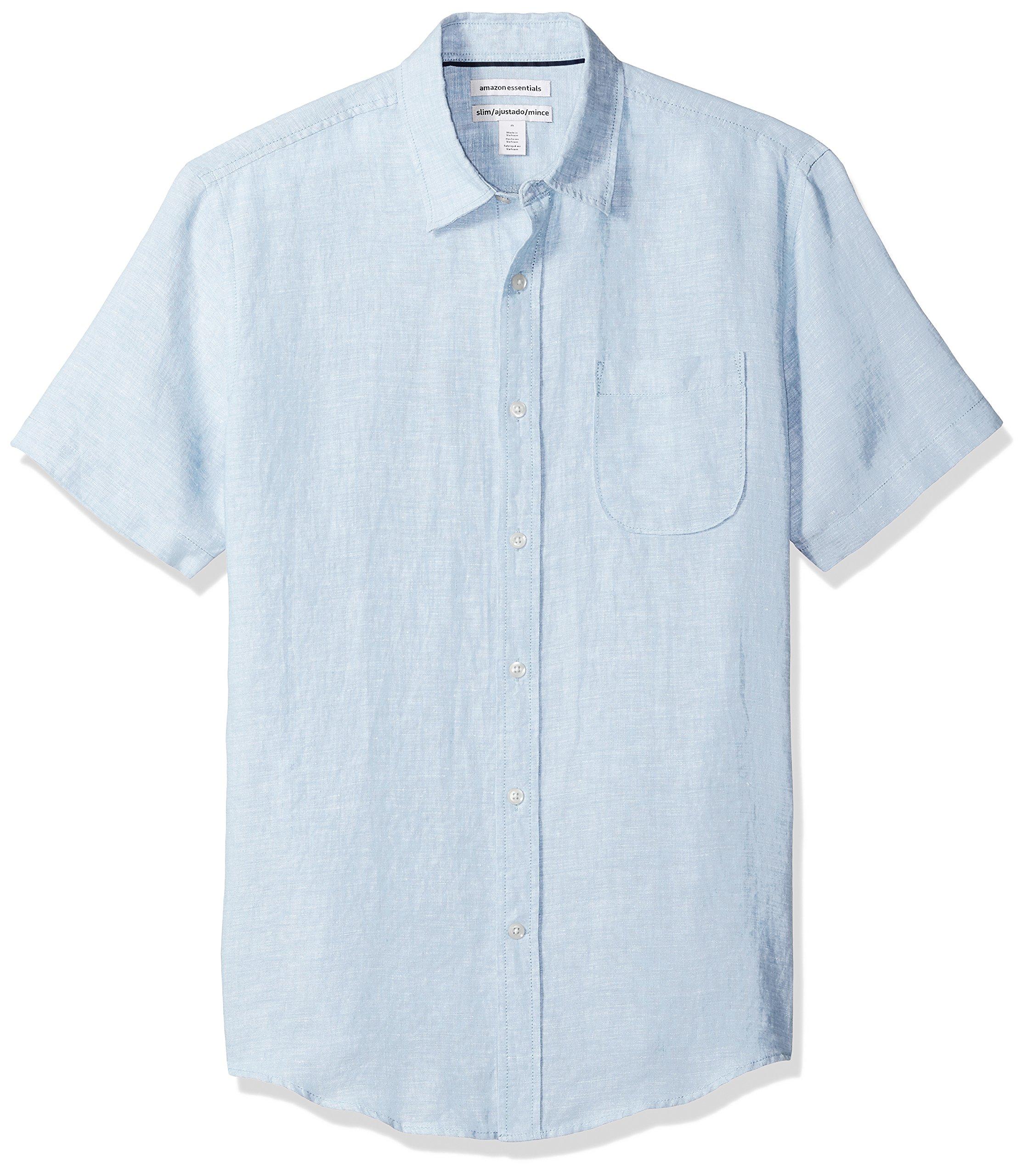 Amazon Essentials Men's Slim-Fit Short-Sleeve Linen Shirt, Light Blue, Large