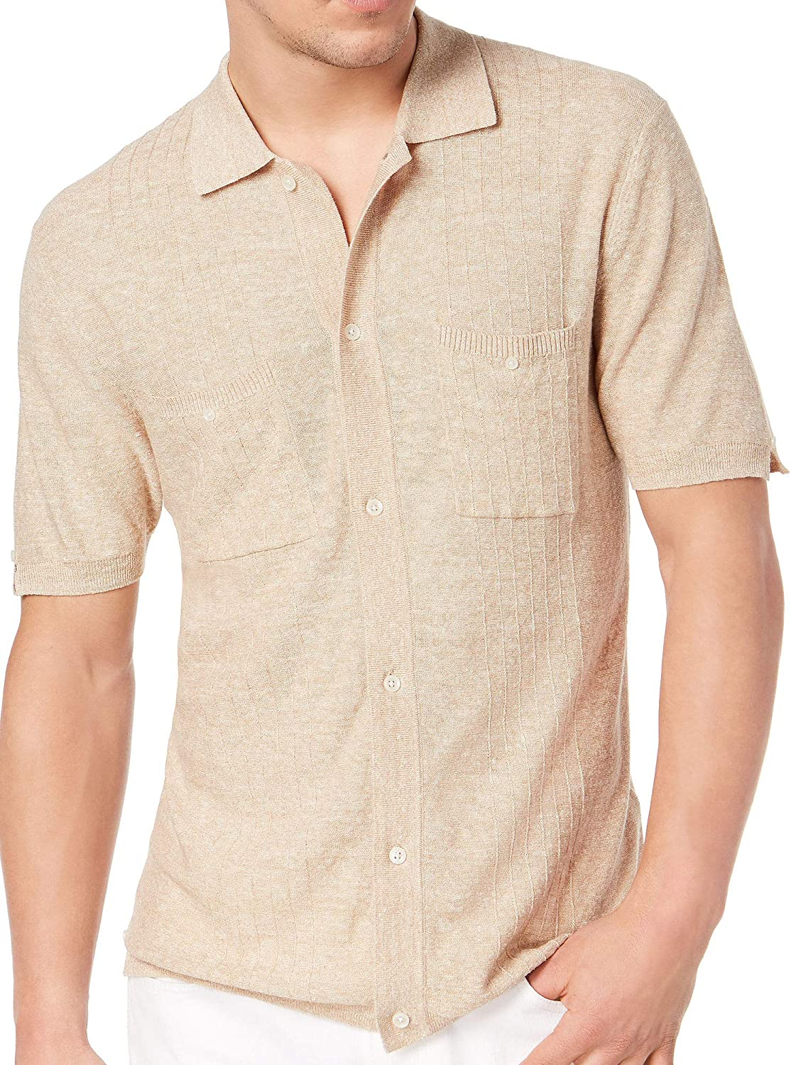 Tasso Elba Mens Knit Pocket Button Up Shirt