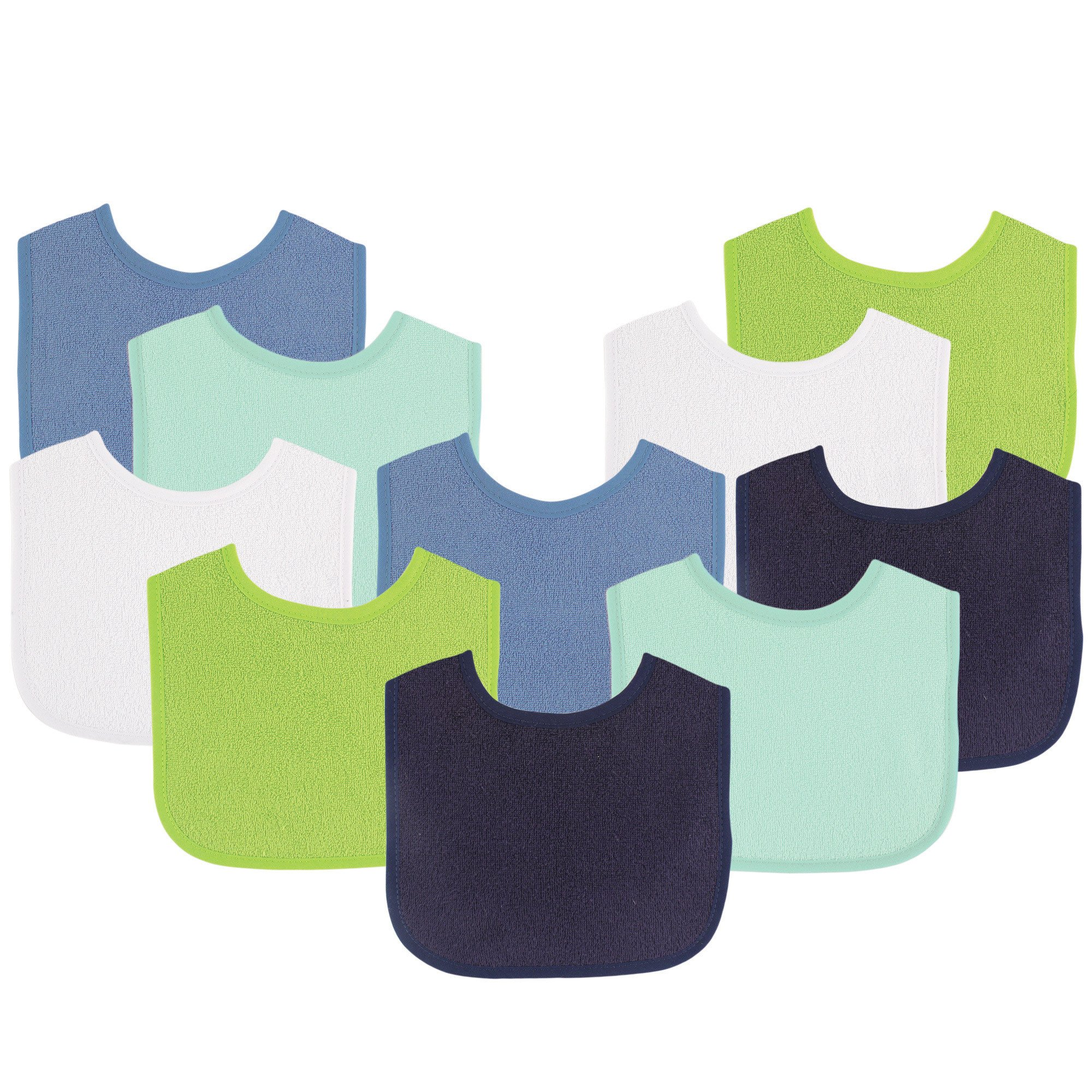 Luvable Friends Baby Bibs Value Pack, Navy/Lime, 6 x 7.5, 10 Count (Colors May Vary)