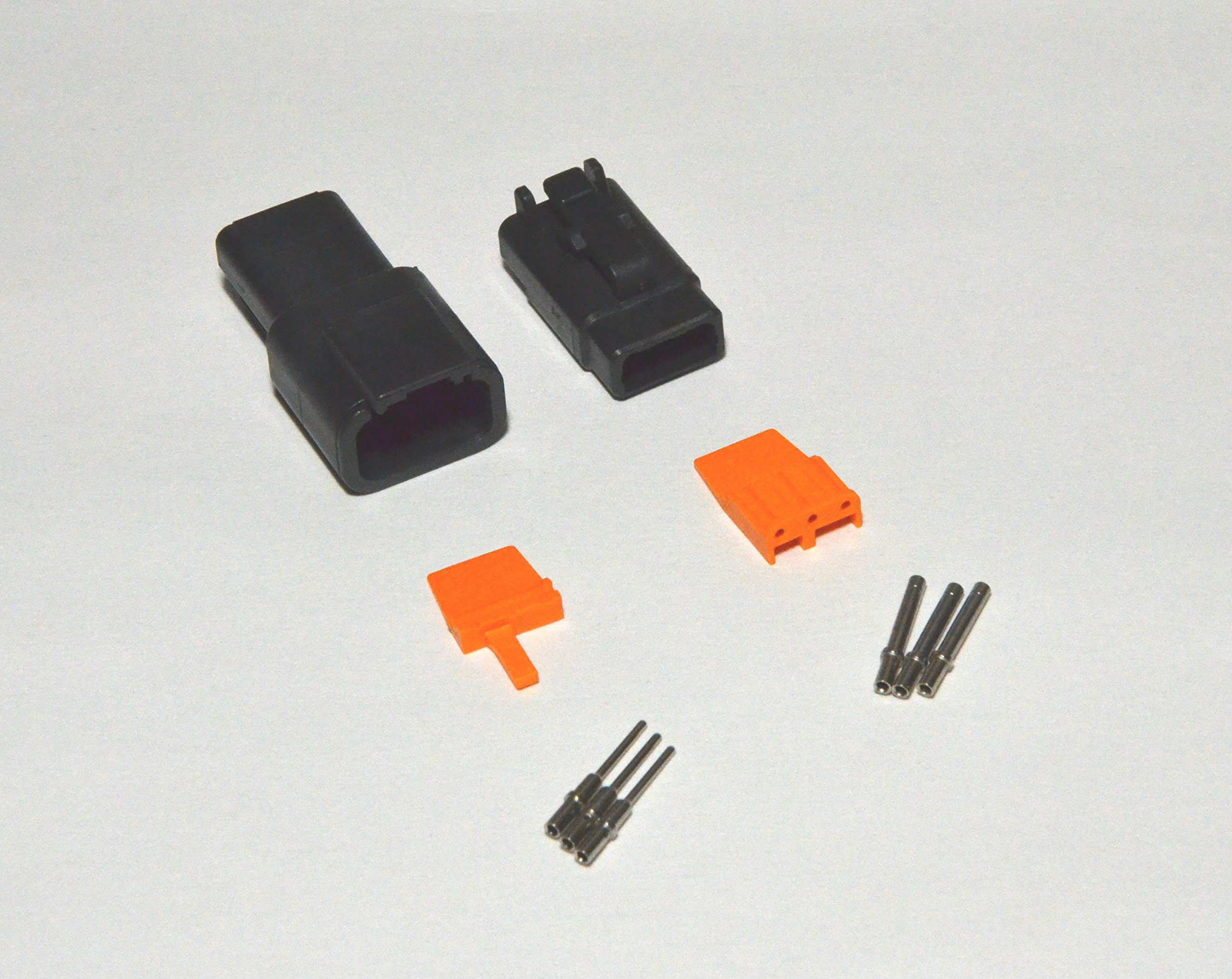 Deutsch DTM Black 3-pin Connector Kit with 20 Gauge Solid Contacts by Deutsch
