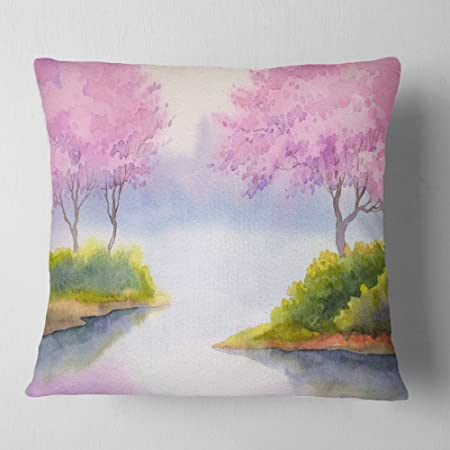 Designart Cu6006 26 26 Flowering Trees Over River Landscape Printed Throw Pillow 26 X 26 Throw Pillows Home Kitchen
