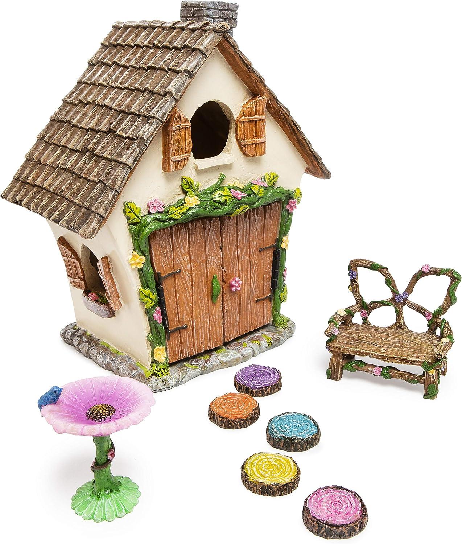 Meadow & Oak Fairy House Kit, Outdoor Fairy Garden Kit for Kids & Adults, Fairy Garden House with Doors That Open & Fairy Garden Accessories, Magical Fairy Gardens Set Includes Adorable Accessories