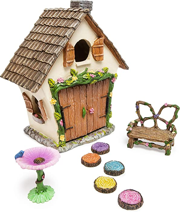 Meadow & Oak Fairy House Kit, Outdoor Fairy Garden Kit for Kids & Adults, Fairy Garden House with Doors That Open & Fairy Garden Accessories, Magical Fairy Gardens Set Includes Adorable Accessories