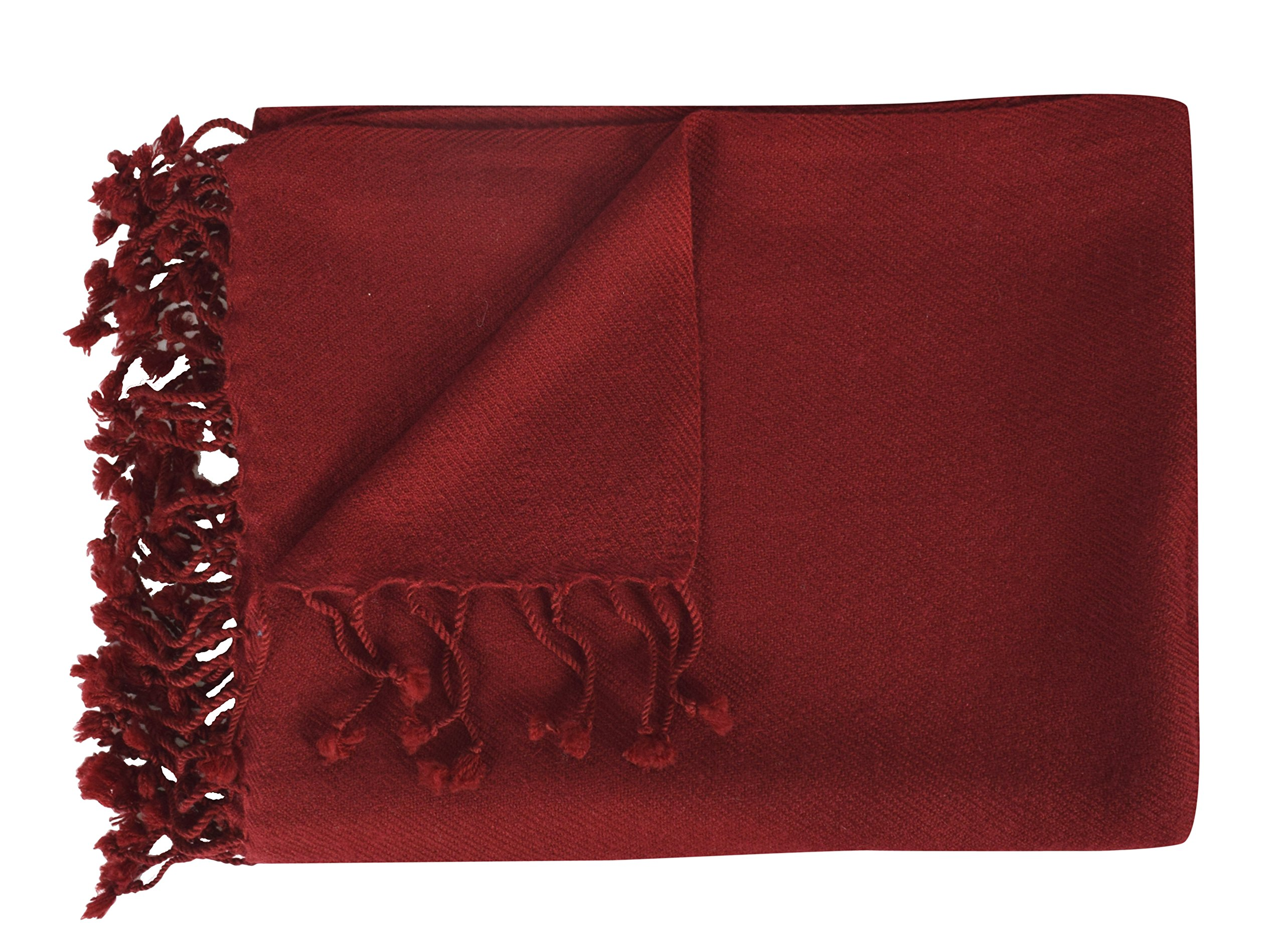 Peach Couture Home Collection Luxuriously Warm and Soft Cashmere Throw Blanket 50 x 60 in (Maroon)