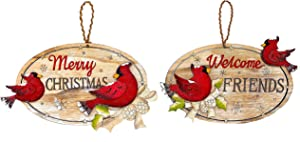 """Transpac S/2 Cardinal Merry Christmas & Welcome Friends Wooden Signs for Wall Door Rustic Decor 11"""" x 7"""""""