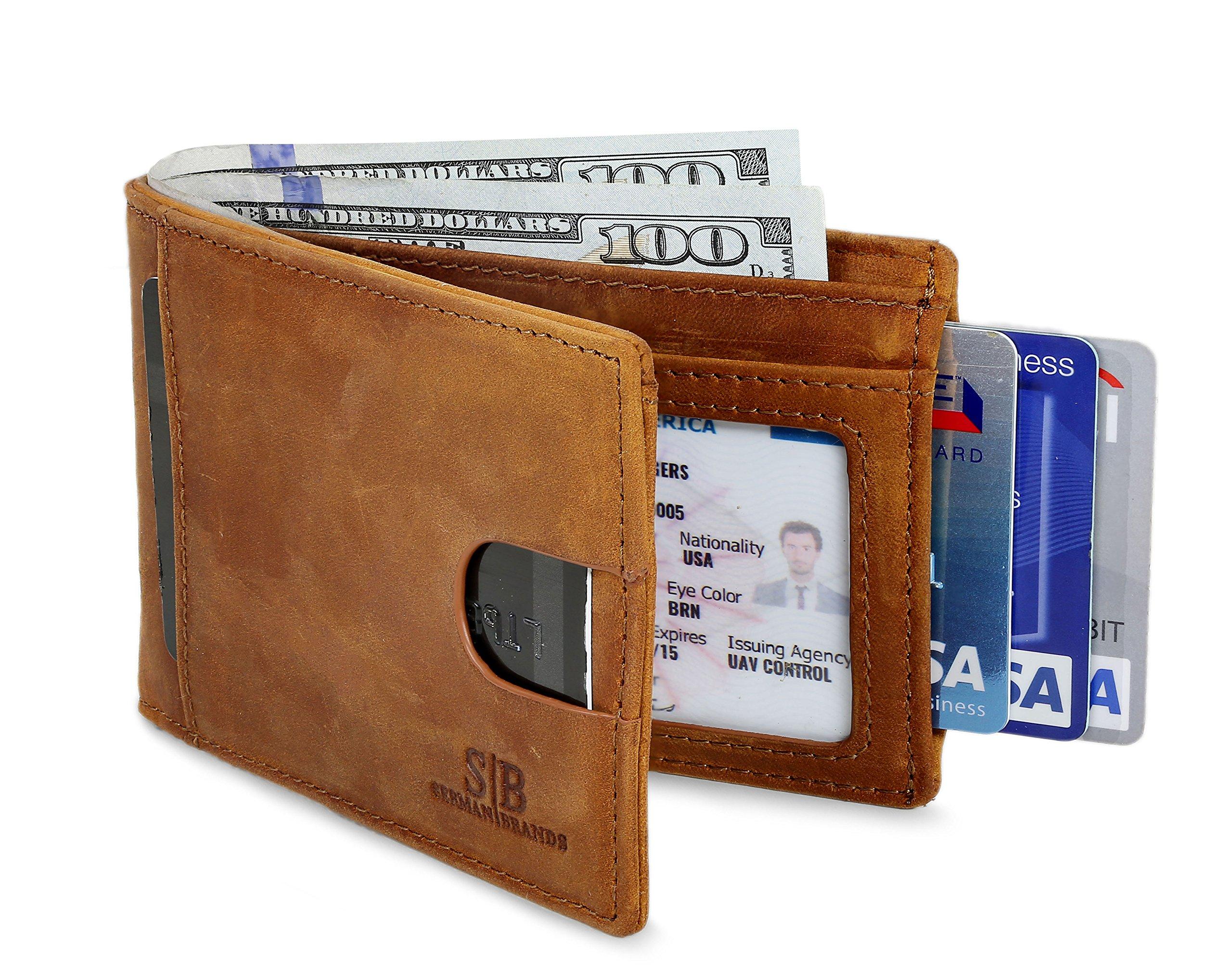 Travel Wallet RFID Blocking Bifold Slim Genuine Leather Thin Minimalist Front Pocket Wallet men Thin Billfold Slim wallets for men Made From Full Grain Leather (California Desert 2.0)