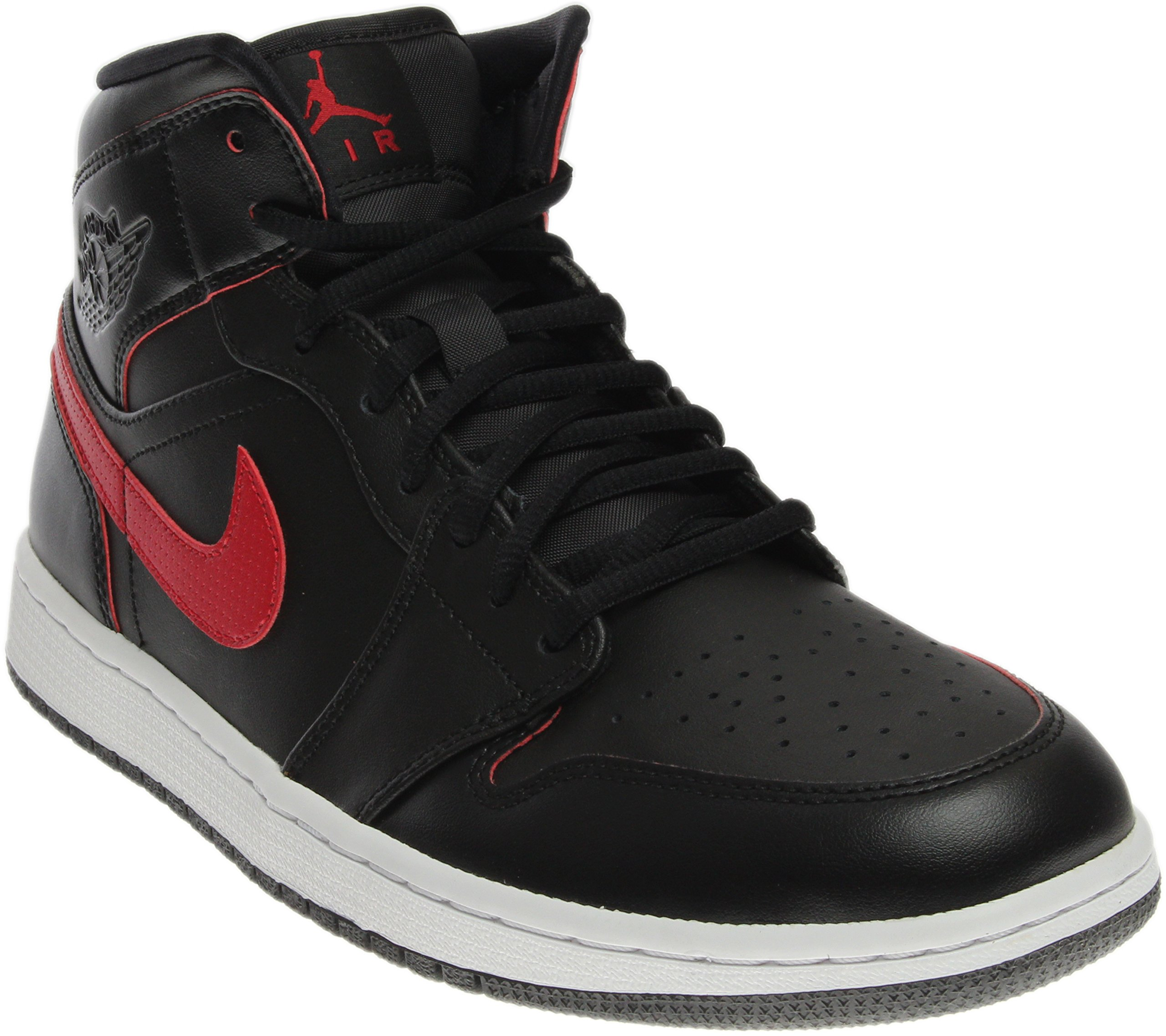 Jordan Nike Men's Air Mid Black/Team Red/Team Red/White Basketball Shoe 10.5 Men US