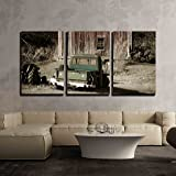 """wall26 - 3 Piece Canvas Wall Art - Old Truck in Front of a Old Barn - Modern Home Decor Stretched and Framed Ready to Hang - 16""""x24""""x3 Panels"""