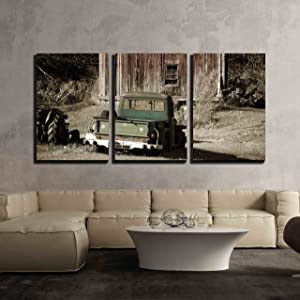 "wall26 - 3 Piece Canvas Wall Art - Old Truck in Front of a Old Barn - Modern Home Decor Stretched and Framed Ready to Hang - 16""x24""x3 Panels"