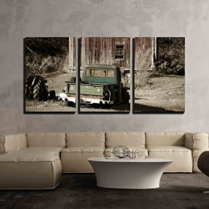 3 piece canvas art oil painting wall26 piece canvas wall art old truck in front of barn amazoncom