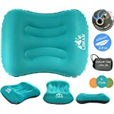 Inflatable Camping Pillow - Compact, Ultralight, Comfortable, Ergonomic Self Inflating Pillow For Travel, Backpacking, Hiking, Airplane, Train, Car with Neck & Lumber Support
