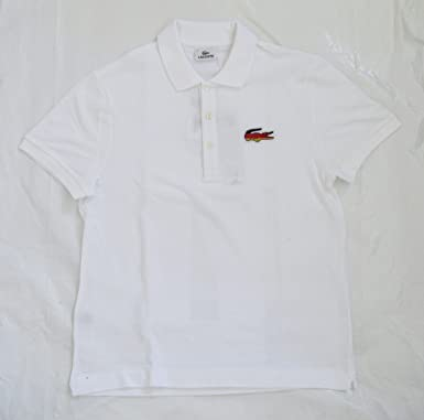 5acd50e2f5b75 Lacoste Men s Polo Shirt - White (with Croc in Germany Flag Colours ...
