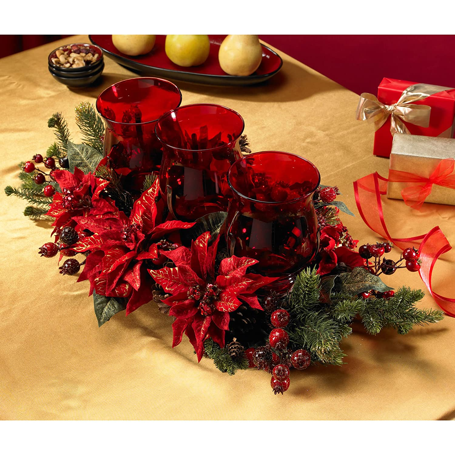 Poinsettia & Berry Centerpiece for Christmas Table 30 In. W x 16 In. D x 9 In. H.