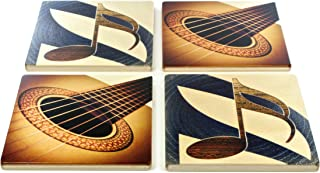 product image for Set of 4 Wooden Coasters - Guitar and Gold Note - Music