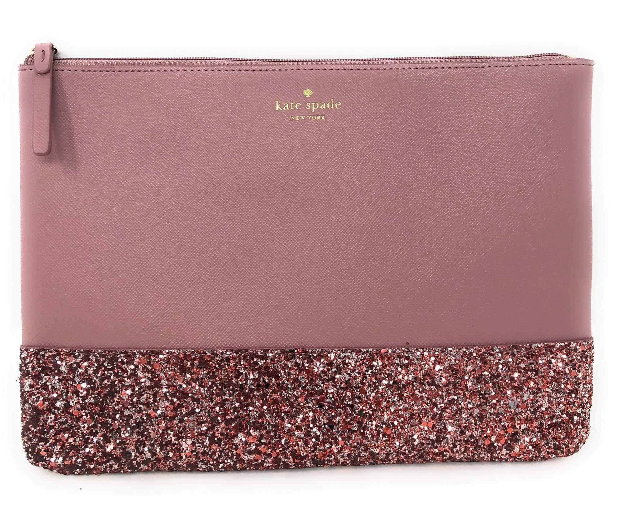 Kate Spade New York Leather Glitter Gia Greta Street Clutch Bag Pink