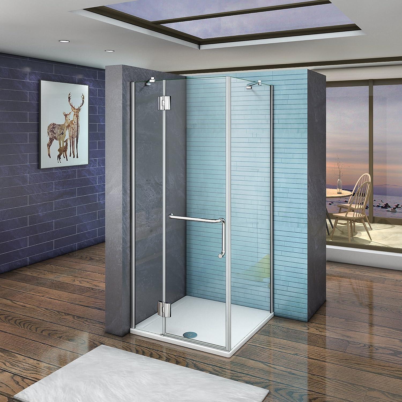 AICA - Cabina de ducha con puerta tipo mampara con bisagra y barra ...