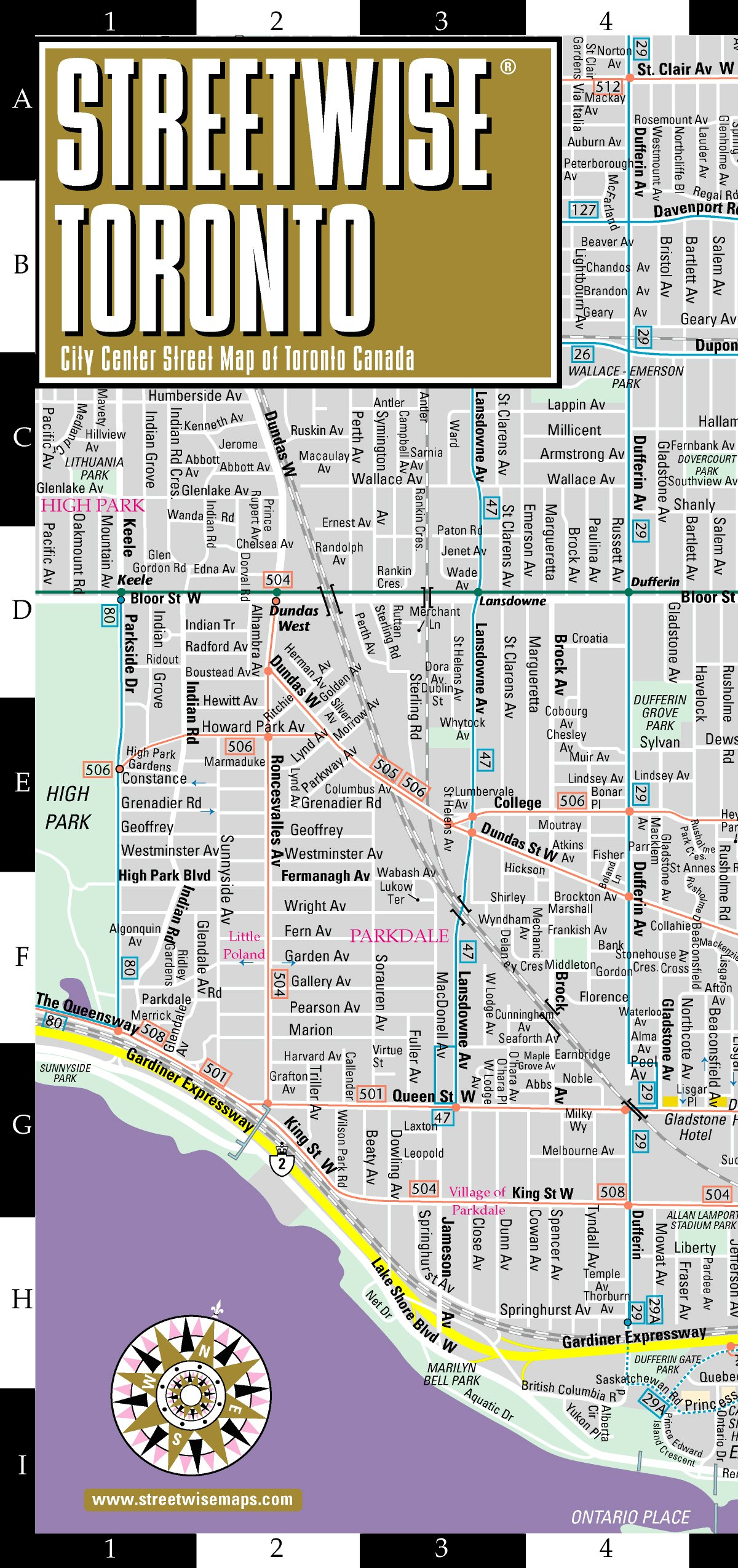 Toronto, Canada Map Streetwise Toronto Map   Laminated City Center Street Map of