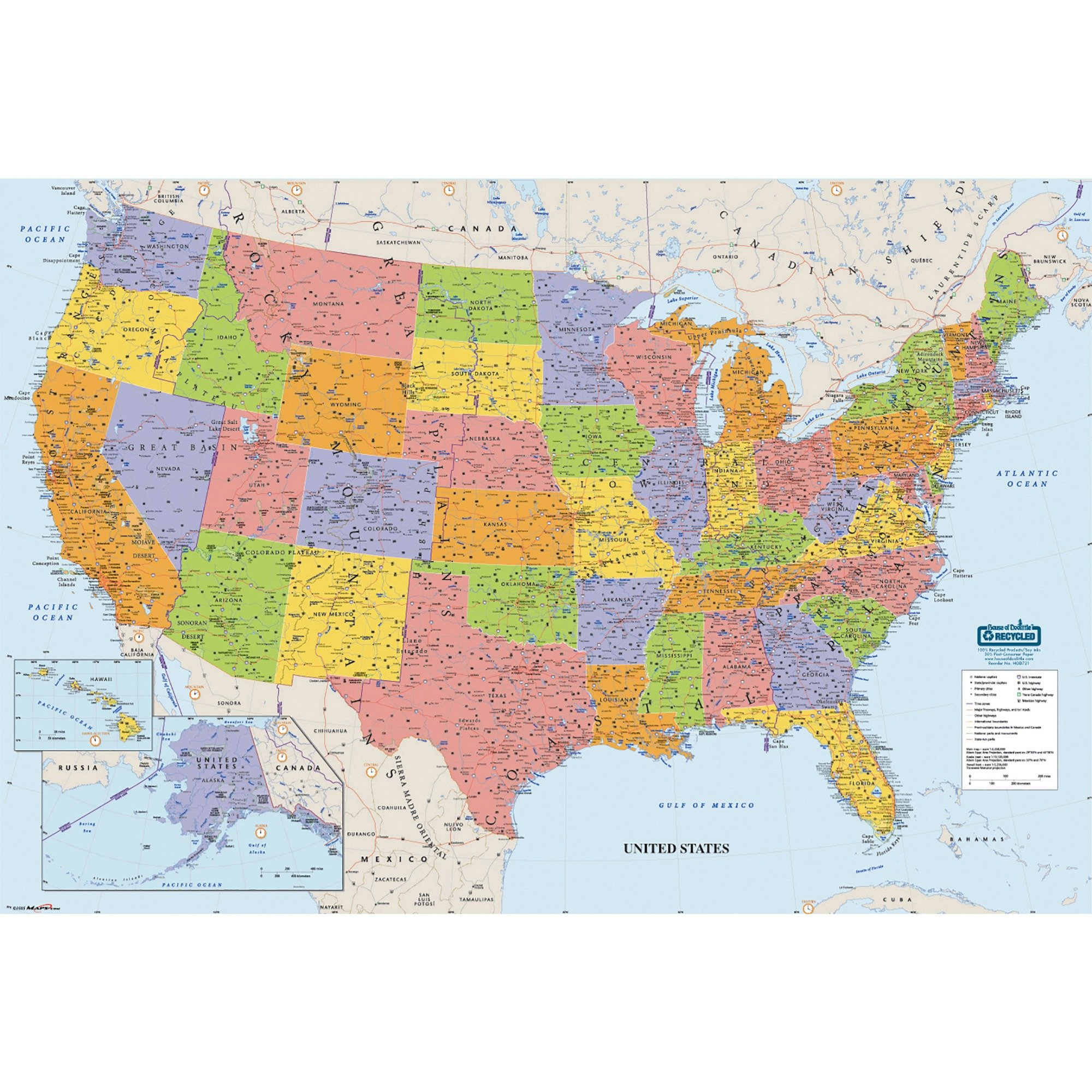 House of Doolittle Write On/Wipe Off Laminated United States Map 50 x 33 Inch (HOD720)