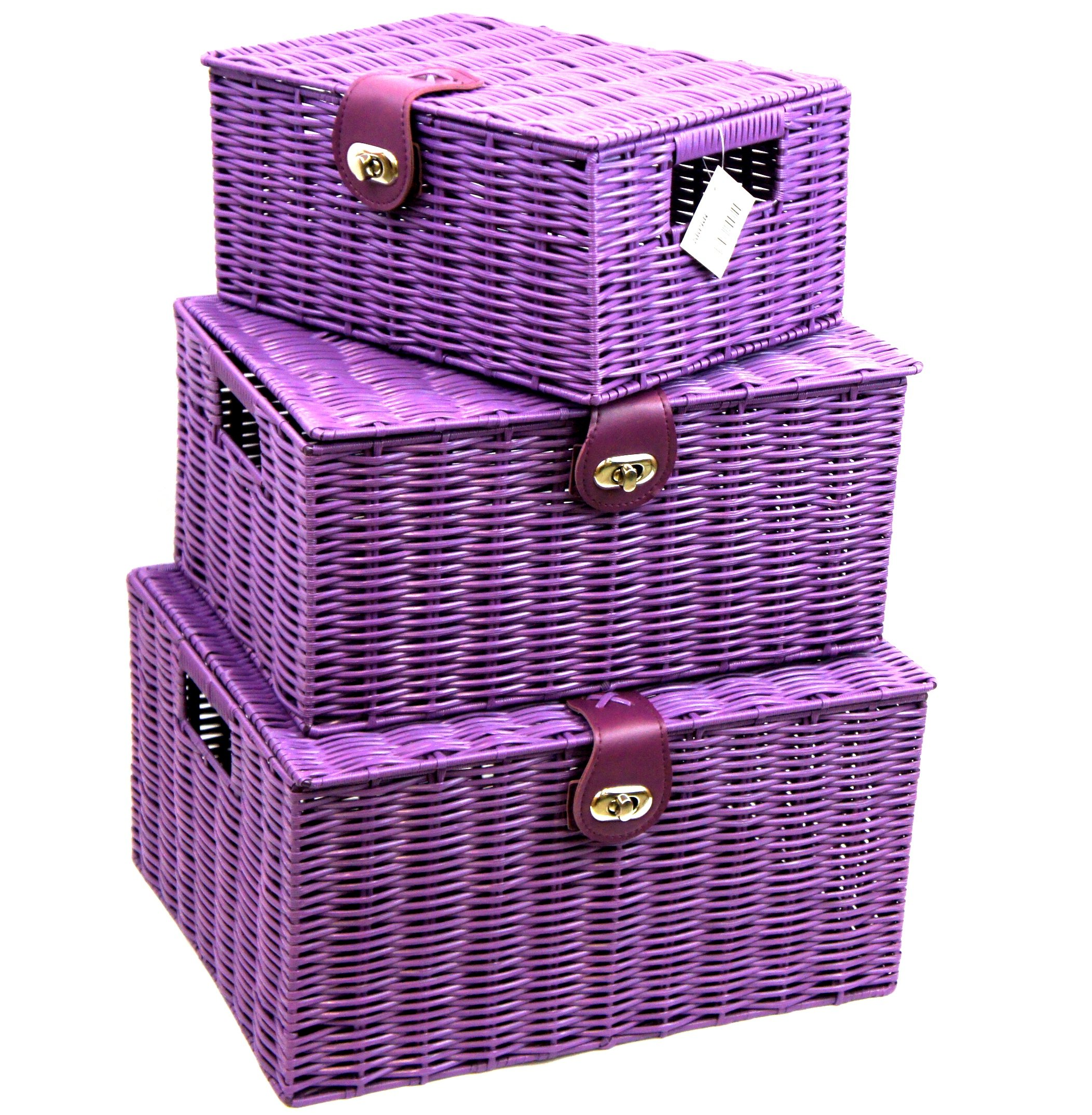 Arpan Set of 3 Resin Woven Storage Basket Box With Lid u0026 Lock (White)  sc 1 st  Amazon UK & Bathroom Storage Baskets: Amazon.co.uk