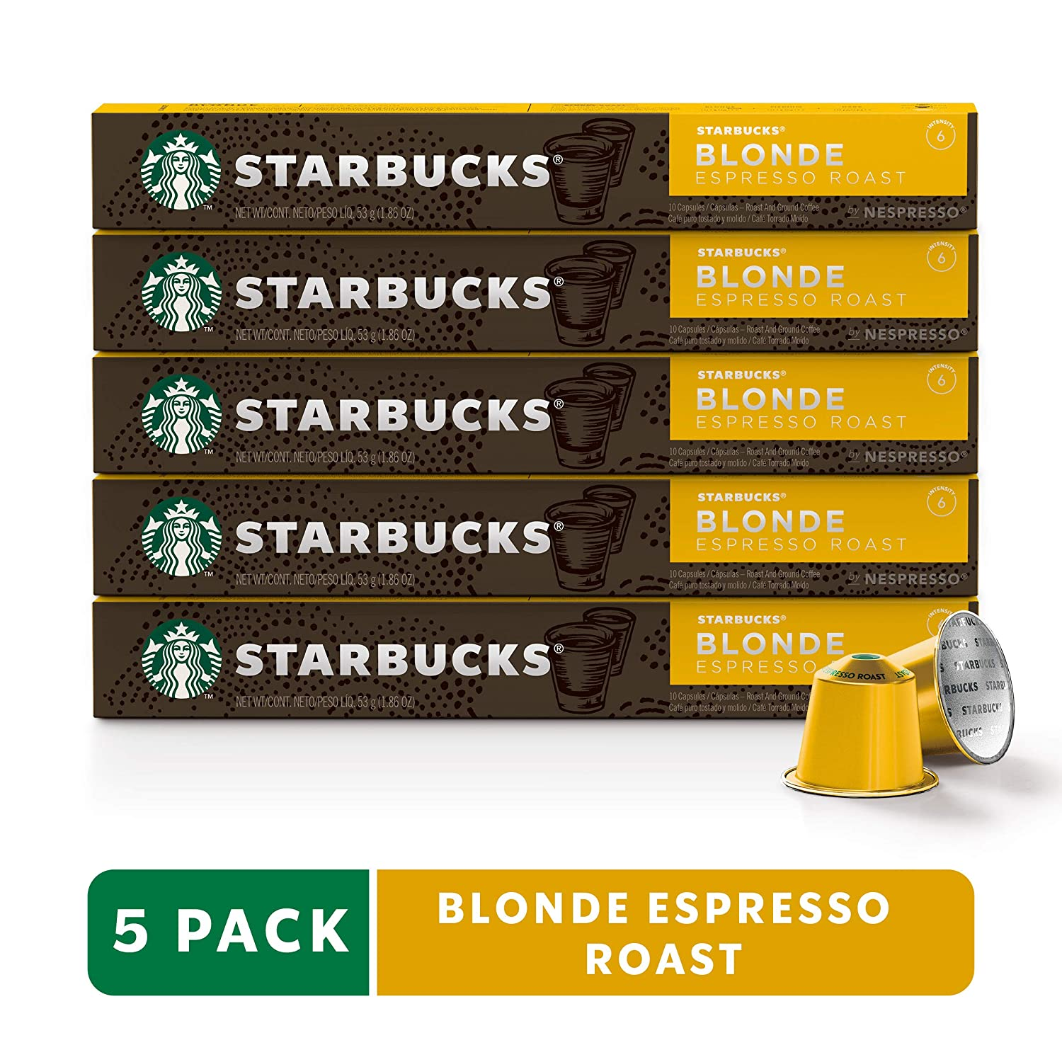 Starbucks by Nespresso, Blonde Roast Espresso (50-count single serve capsules, compatible with Nespresso Original Line System)