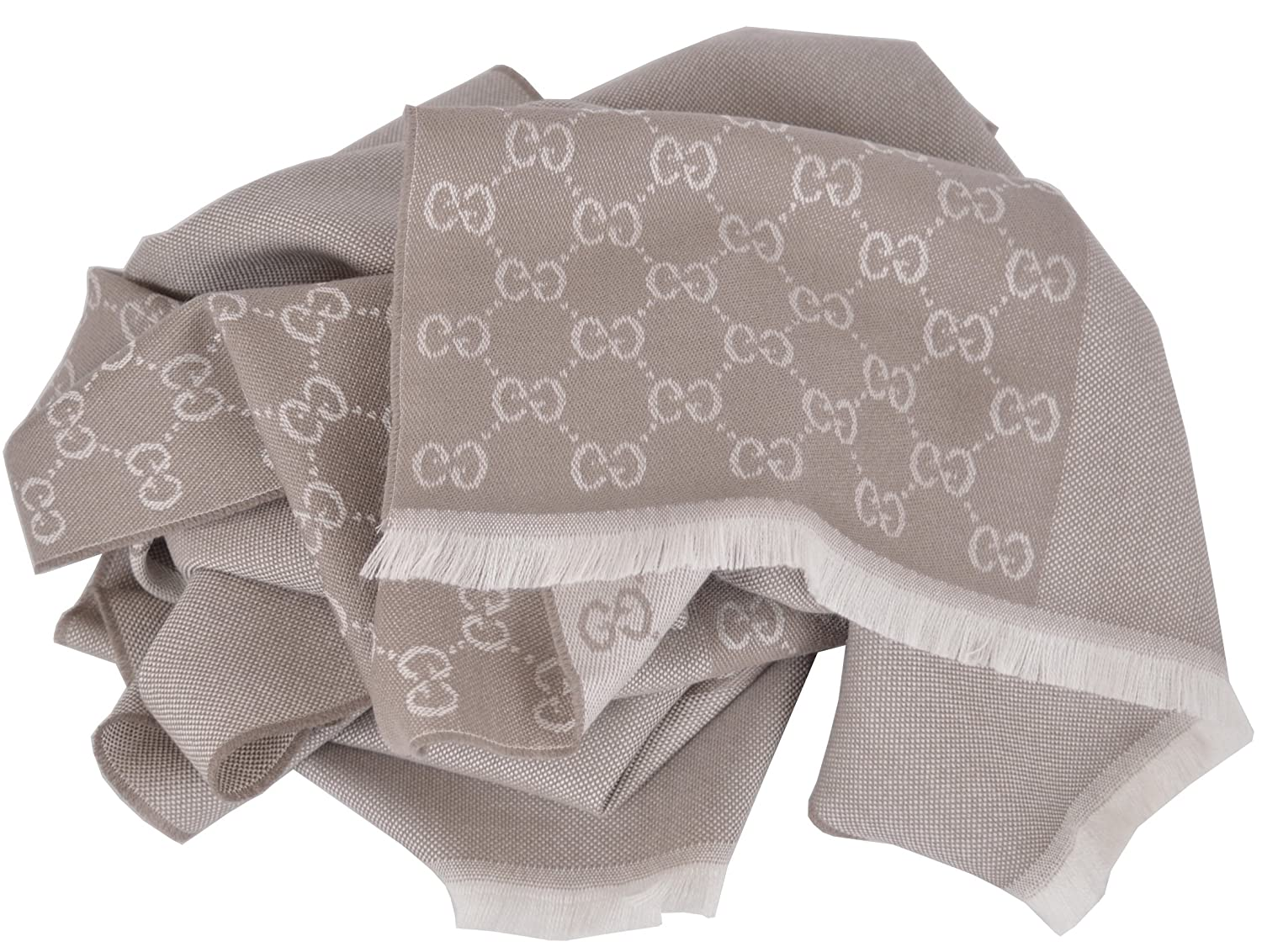 399d50e3819 Gucci Men's Wool Taupe Beige GG Guccissima Reversible Scarf: Amazon.co.uk:  Clothing