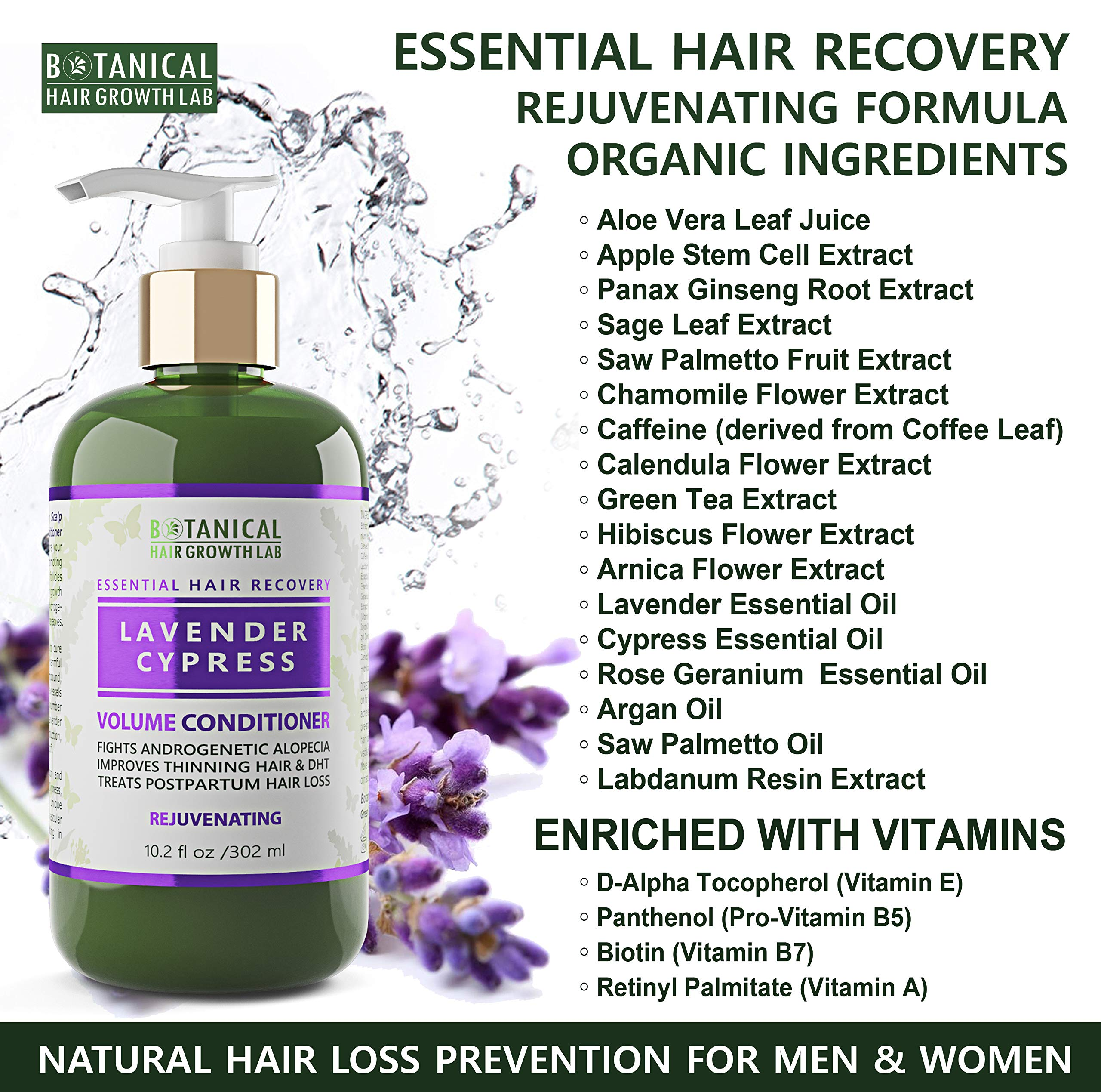 Botanical Hair Growth Lab Anti Hair Loss Alopecia Postpartum DHT Blocker Shampoo and Conditioner Value Set Lavender - Cypress Hair Growth Botanical For Hair Thinning Prevention by BOTANICAL HAIR GROWTH LAB