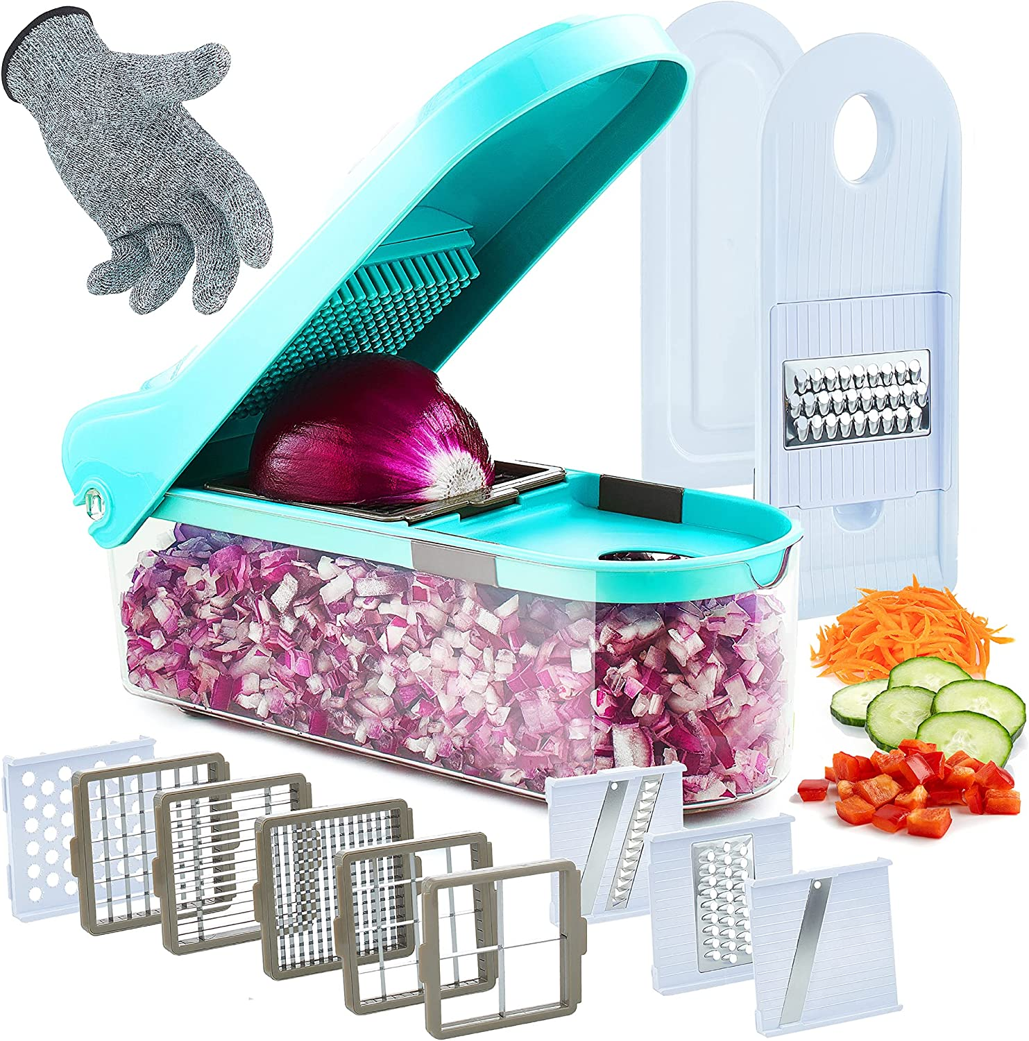 Vegetable Chopper, Slicer, Dicer, Nicer - Food Cutter for Veggie as Onion, Fry, Potato, Tomato, Salad - 9 Chop & Mandoline Blades, Resistant Glove, Peeler, Storage Container - Manual Hand Kitchen Tool