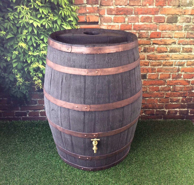 Barrel Water Butt / 52 Gallon / 238 Litre / Jacobean Dark Oak Effect Hogshead Ale Barrel With Brass Tap / Garden