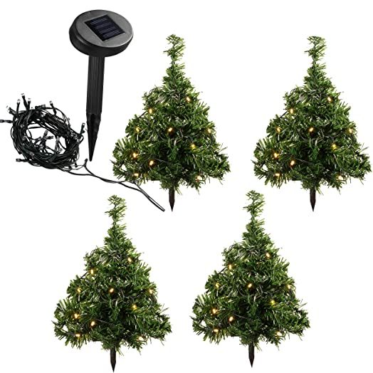 werchristmas solar powered mini christmas trees with ten warm white led lights 35 cm - Solar Powered Christmas Tree