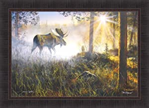 Walk in The Mist by Jim Hansel 24x33 Bull Moose Sunrise Sun Framed Art Print Wall Décor Picture