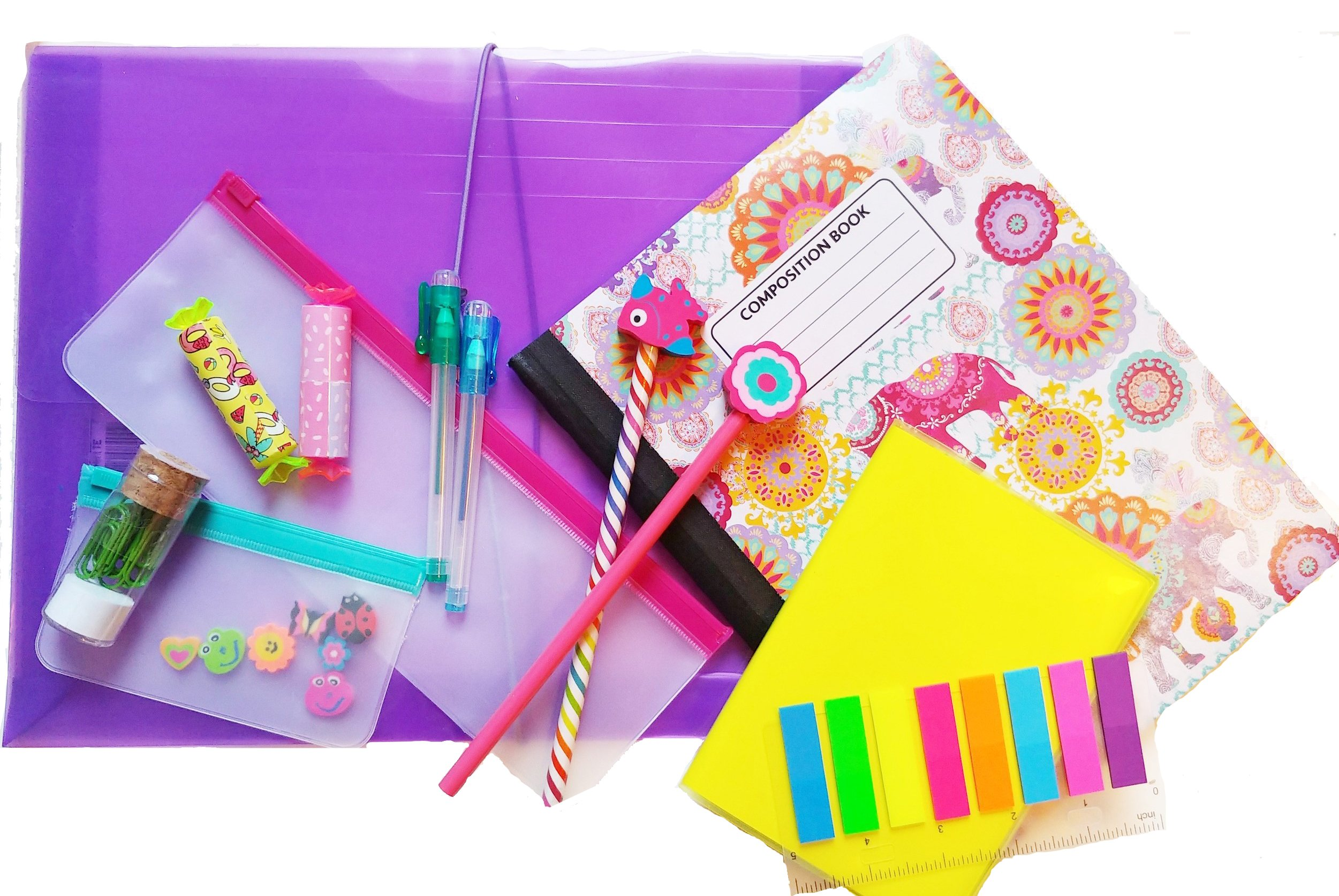 School or Office Supplies Set: Notebooks, Pens, Pencils, Folders, Sticky Tabs, Erasers, Paper Clips, 19 Piece Set!