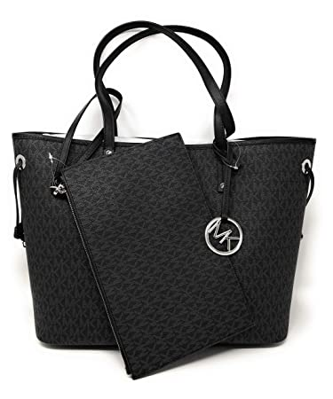 2b3da8e667 Amazon.com  Michael Kors Jet Set Travel Large Drawstring Tote Black MK  Signature  Hippsh
