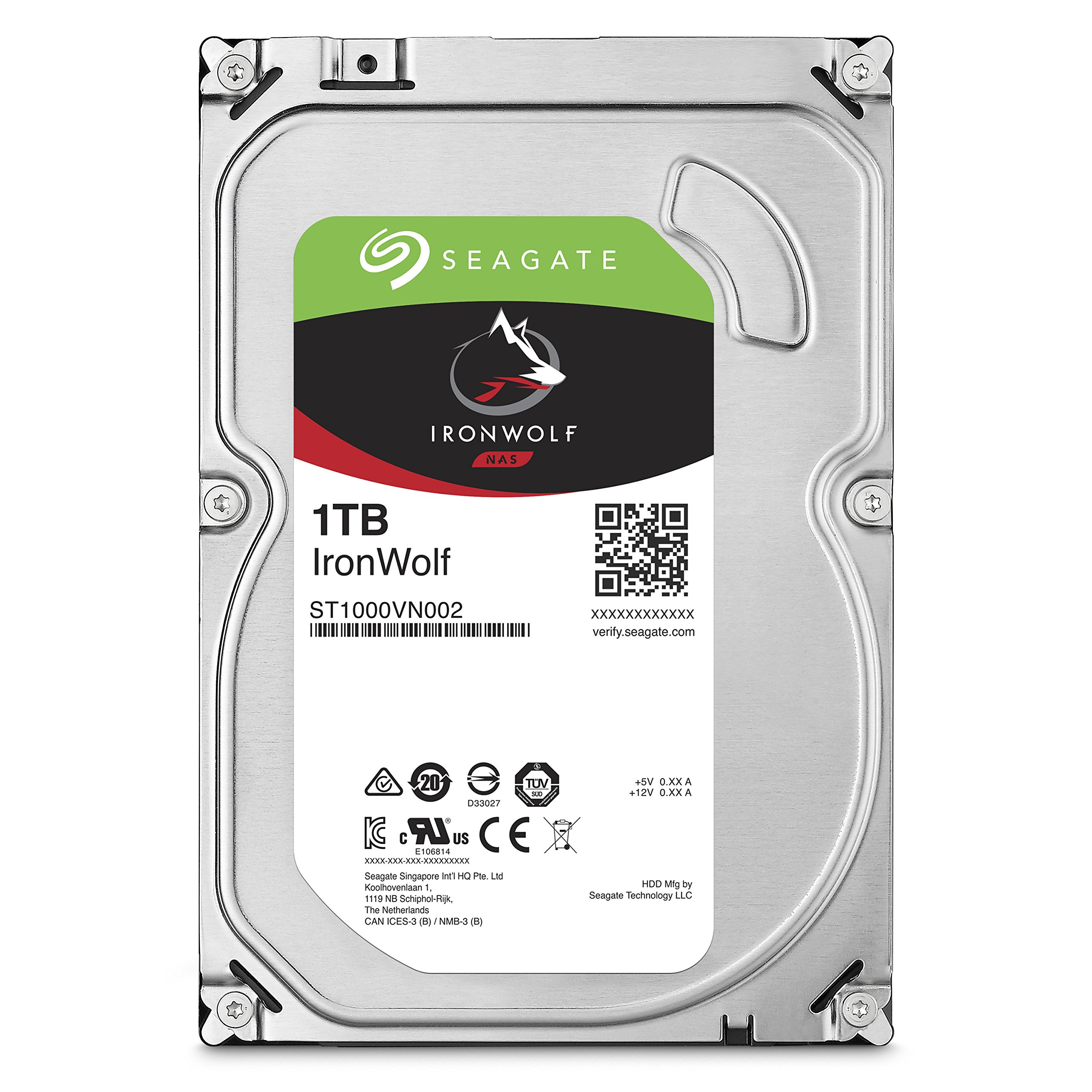 Seagate 1TB IronWolf NAS SATA 6Gb/s NCQ 64MB Cache 3.5-Inch Internal Hard Drive (ST1000VN002) by Seagate