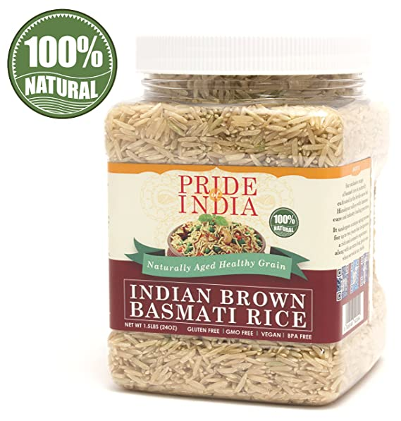 El orgullo de la India - Extra Largo Brown arroz basmati indio - 1.5 libras (680 g) Jar - Dieta natural aromática, saludable y nutritivo: índice ...