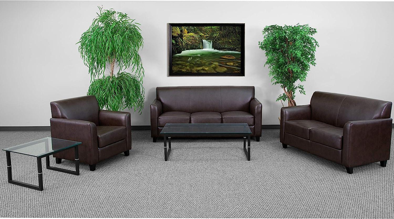 Flash Furniture HERCULES Diplomat Series Reception Set in Black LeatherSoft