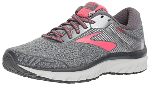Brooks Women s Adrenaline GTS 18 Ebony Silver Pink 7 D US D – Wide