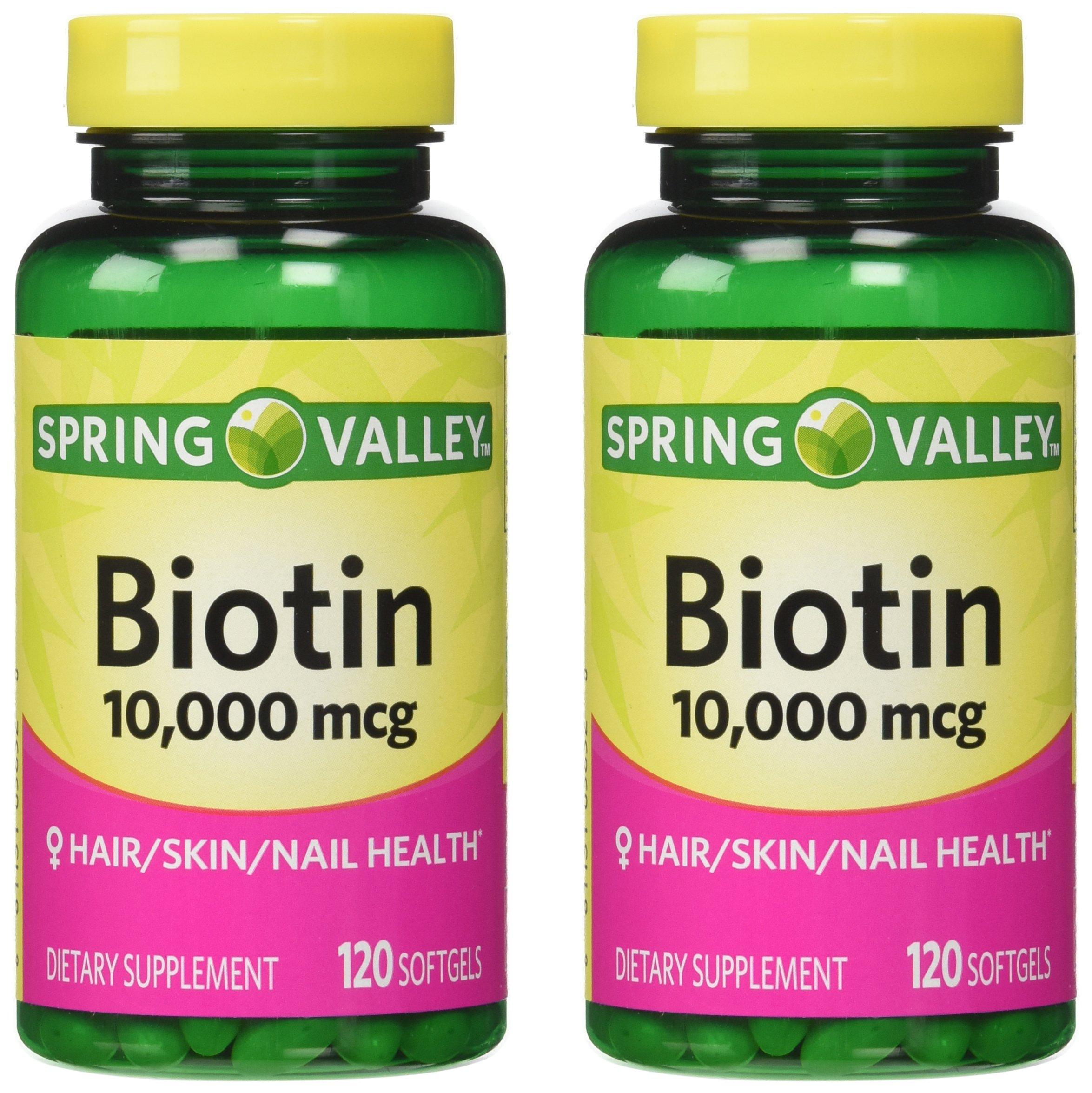 Spring Valley Biotin 10,000 mcg, 2 Bottles of 120 Softgels (2 Pack) by Spring Valley