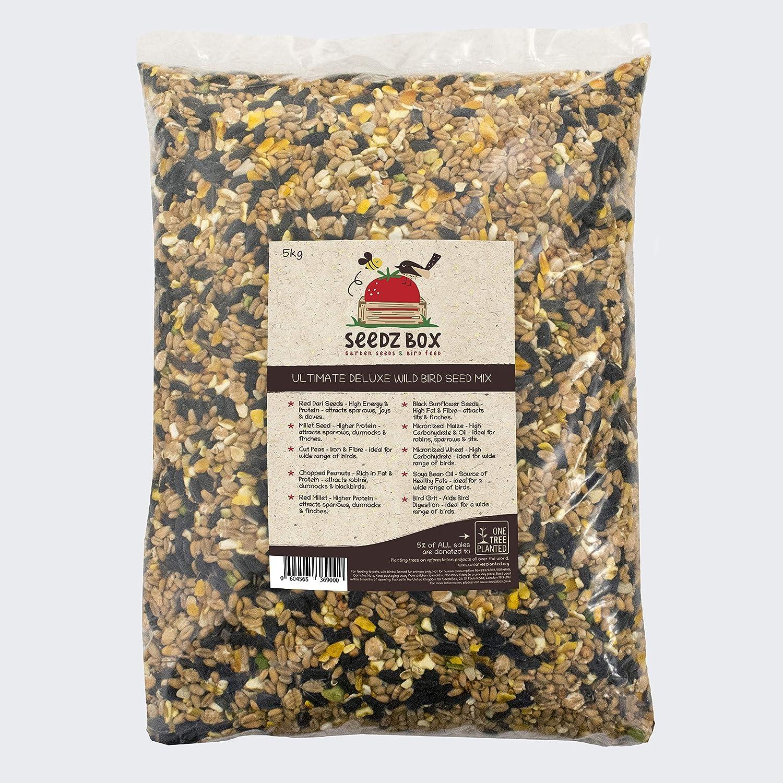 SeedzBox mezcla premium de semillas para aves silvestres.Comida para pájaros salvajes todo el año. Aceites y fibra: con mijo, cacahuetes y grit. Atrae gorriones, palomas, mirlos, petirrojos y más. 5kg