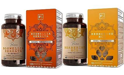 FS Boswellia serrata incienso [2000 mg] & Berberina HCL [400 mg] Combo | Sinergia Natural para la Salud Digestiva y Cognitiva | 2 meses de suministro ...