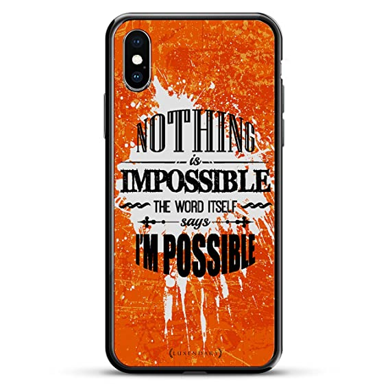 NOTHING IS IMPOSSIBLE QUOTE | Luxendary Chrome Series designer case for iPhone X in Titanium Black trim