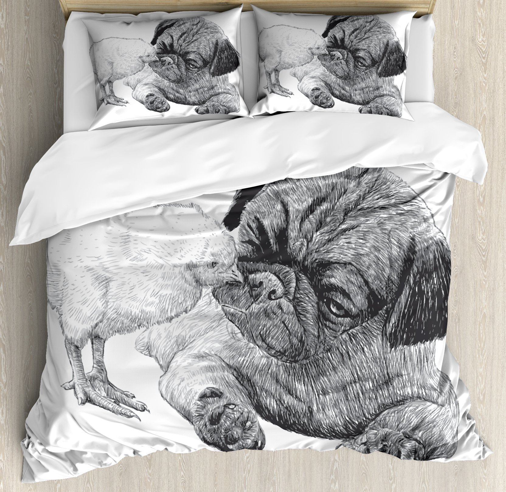 Pug King Size Duvet Cover Set by Ambesonne, Picture of a Pug and a Little Chick Drawn by Hand Love and Affection Between Animals, Decorative 3 Piece Bedding Set with 2 Pillow Shams, Black White