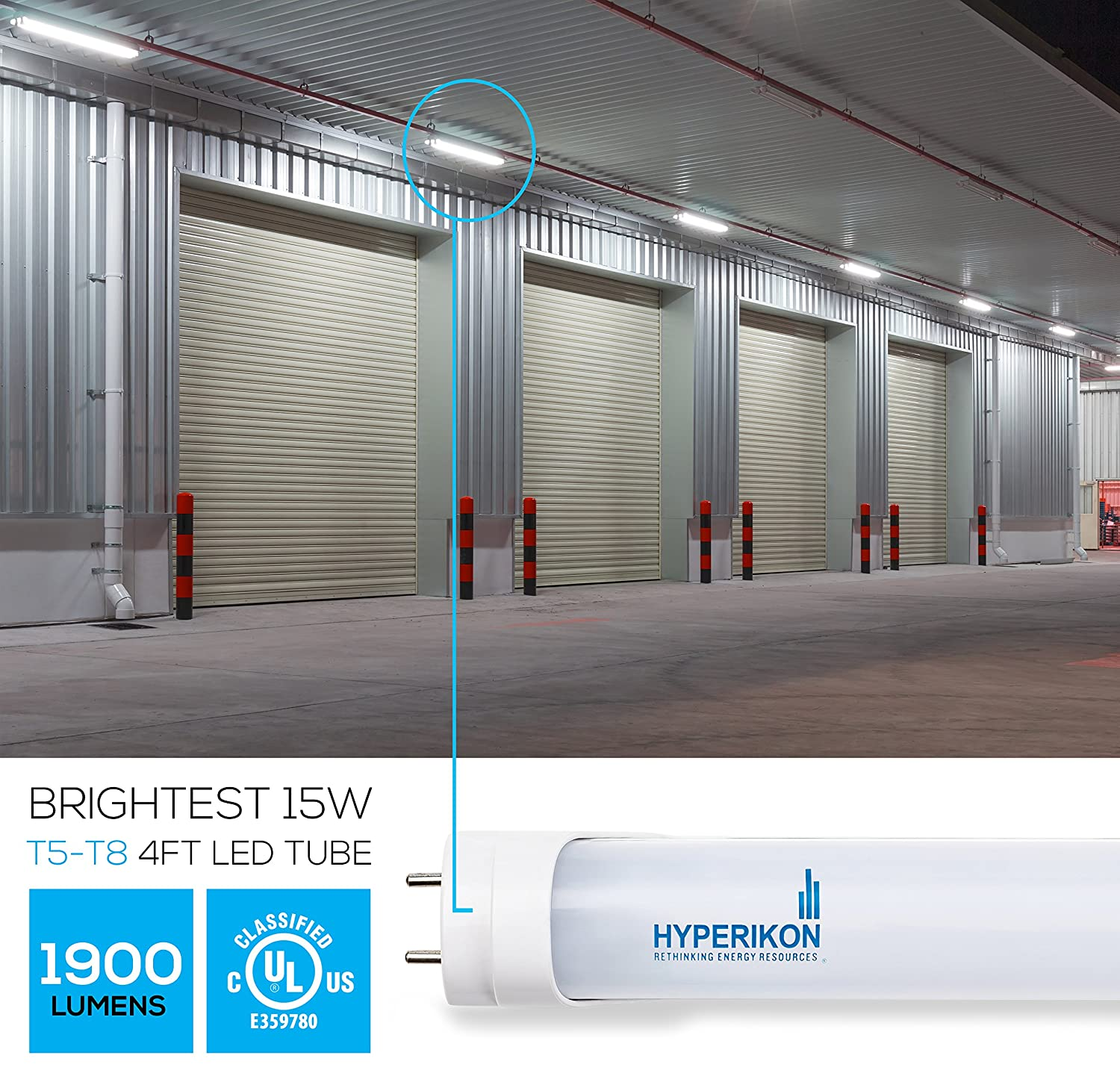 Hyperikon T5 T8 Led Light Tube 4 Ft 4525 Inches 22w 50w Wiring Diagram For 6 Bulb Fixture Equivalent 5000k Crystal White Glow 120 277v Dual End Powered Ballast Bypass Required