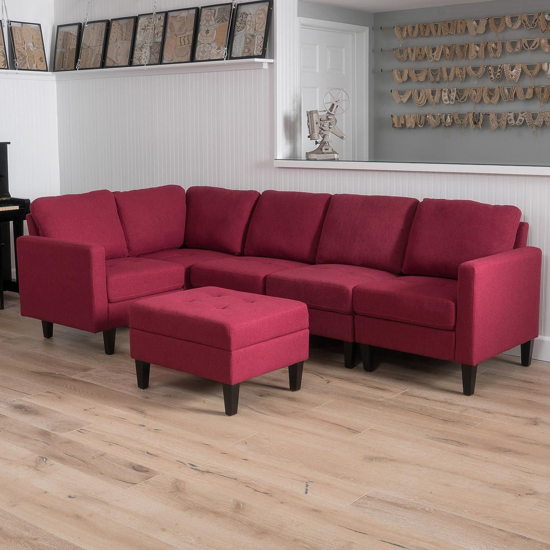 GDF Studio 300801 Carolina Sectional Sofa Set with Ottoman, 6-Piece Living  Room Furniture with Storage, Deep Red