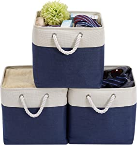 "DECOMOMO Foldable Storage Bin | Collapsible Sturdy Cationic Fabric Storage Basket Cube W/Handles for Organizing Shelf Nursery Home Closet (Navy Blue & White, Cube - 13 x 13 x 13""- 3 Pack)"