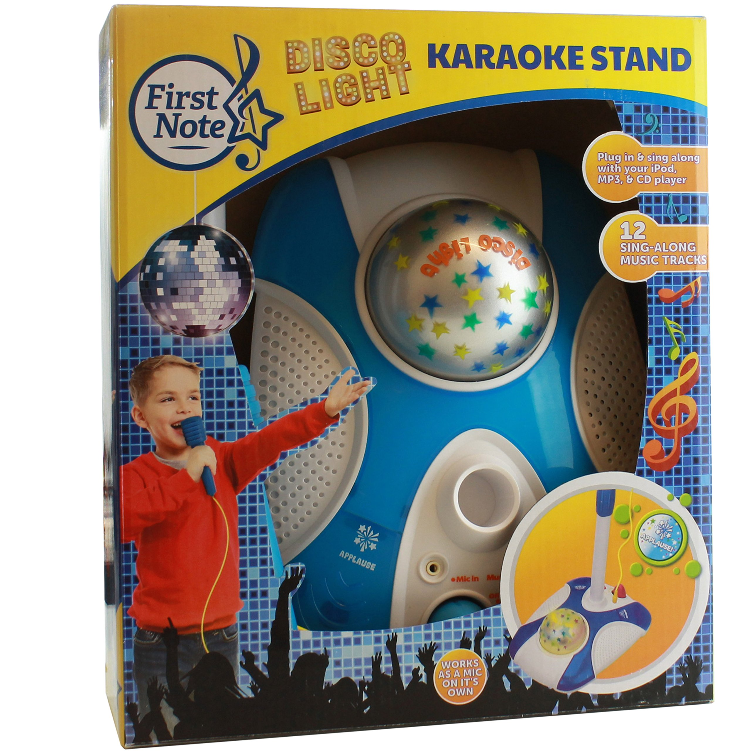 Karaoke Disco Light Adjustable Mic & Speaker Stand! Includes 12 pre-Loaded Popular Songs and Connects to iPods, Smartphones & MP3 Players (Blue) by IQ Toys (Image #6)