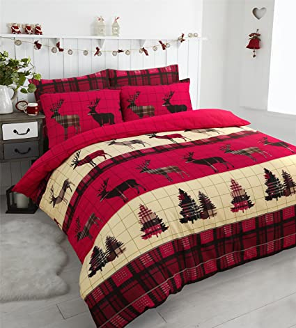 1f26076d0ed7 Stag Christmas Tartan Thermal Flannel Duvet Cover Set Brushed Cotton Red,  Grey, Chocolate Soft