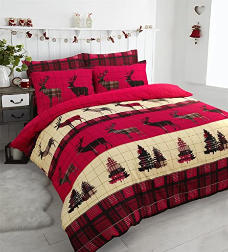 Stag Christmas Tartan Thermal Flannel Duvet Cover Set Brushed Cotton ...