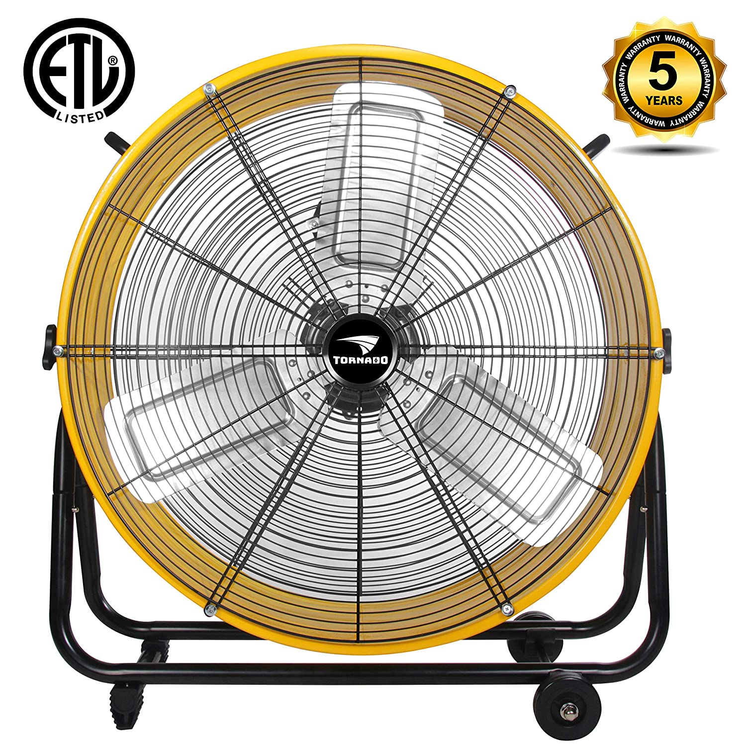 Tornado - 24 Inch High Velocity Air Movement Heavy Duty Metal Drum Fan - 3 Speed Air Circulator Fan - For Industrial, Commercial, Residential, and Greenhouse Use - ETL Safety Listed - 5 Years Warranty